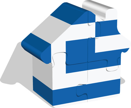 bullpen: Vector illustration of house home icon with greek flag in puzzle isolated on white background   Illustration
