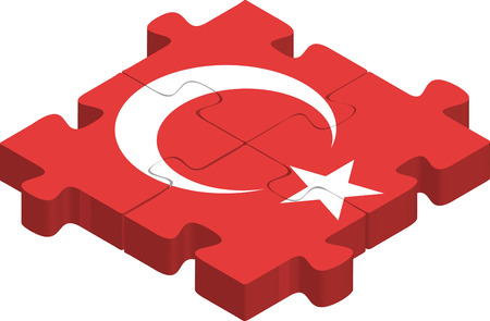 turkish flag: Vector illustration of Turkish Flag in puzzle isolated on white background Illustration