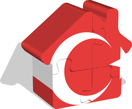 bullpen: Vector illustration of house home icon with turkish flag in puzzle isolated on white background
