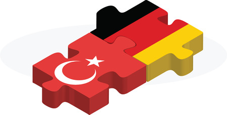 Vector illustration of German and Turkish Flags in puzzle isolated on white background Vector