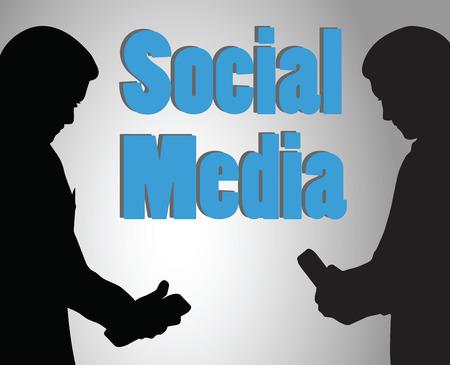 illustration of two men holding cell phone tablet pc - social media communication Vector