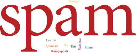 unsolicited: illustration of the word spam in word clouds isolated on white background