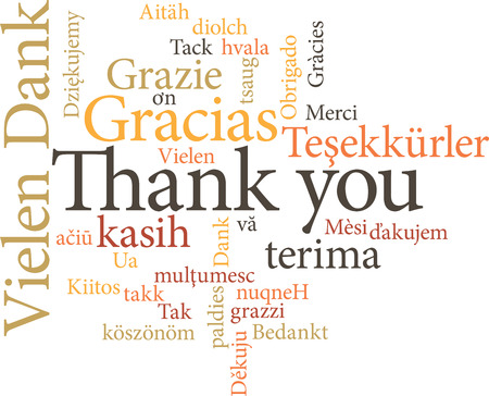 obliged: illustration of the word thank you in word clouds isolated on white background