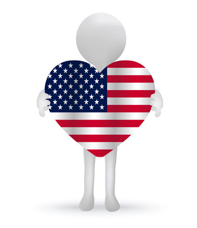 small 3d man hands holding a USA flag Illustration