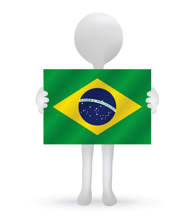small 3d man hands holding a Brazil Flag Vector