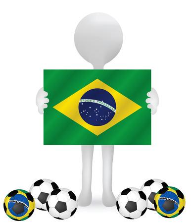 small 3d man hands holding a Brazil Flag Vector