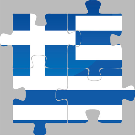 illustration of Greek Flag in puzzle isolated on white background Vector