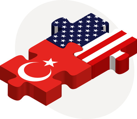 illustration of USA and Turkish Flags in puzzle isolated on white background Vector