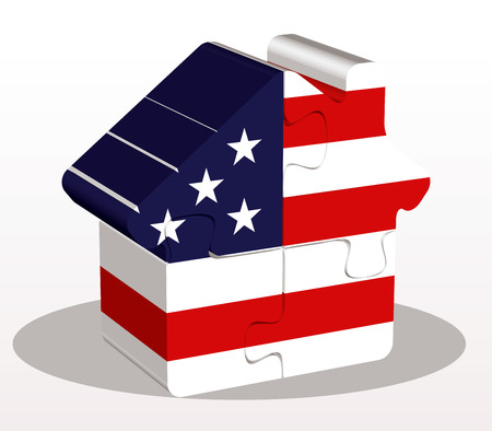 bullpen: illustration of house home icon with USA flag in puzzle isolated on white background