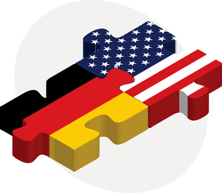 illustration of USA and German Flags in puzzle isolated on white background