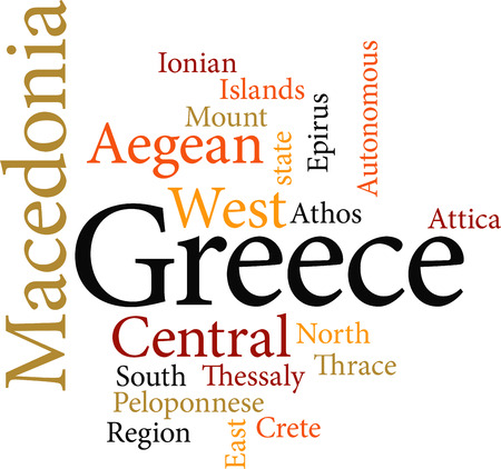 regions of greece in word clouds isolated on white background