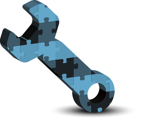 customized: wrench, spanner, maintenance support tool icon in puzzle