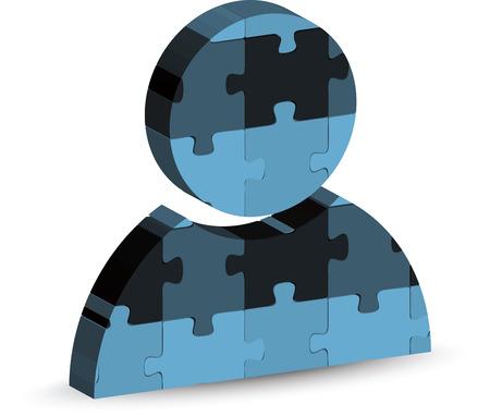 person on computer: illustration of Person Computer Icon Symbol in puzzle