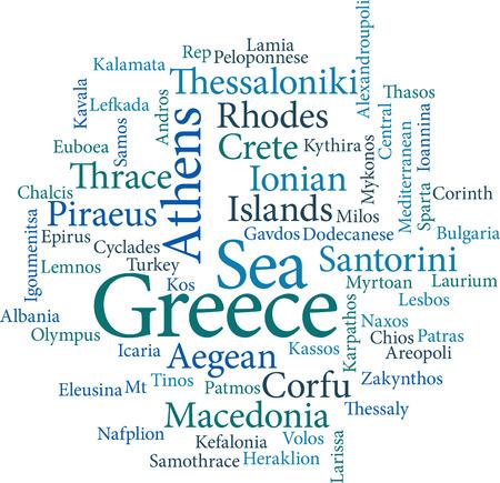 sparta: Darstellung der Wort St�dte von Griechenland in Wort Wolken auf wei�em Hintergrund
