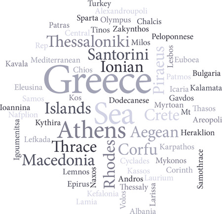 lamia: illustration of the word cities of greece in word clouds isolated on white background Illustration