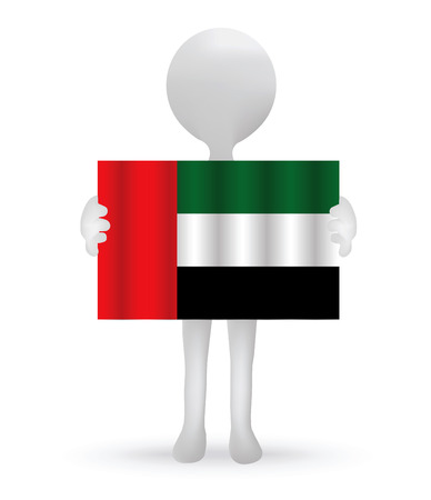 small 3d man holding a UAE flag Vector