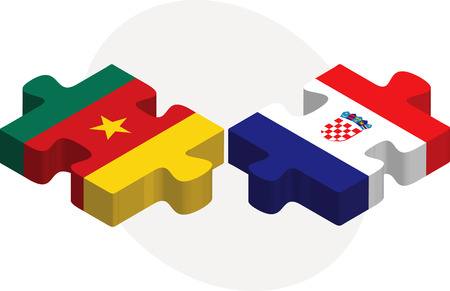Vector illustration of Cameroon and Croatia Flags in puzzle isolated on white background Vector