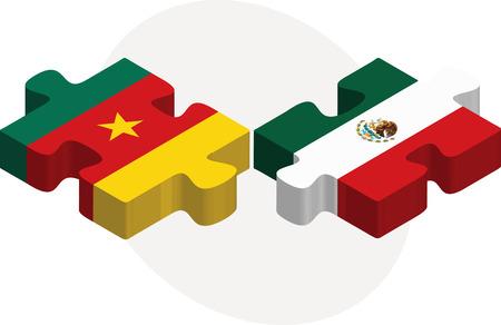 drapeau mexicain: Vector illustration de Cameroun et le Mexique Drapeaux dans le puzzle isol� sur fond blanc