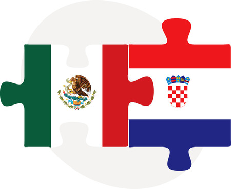 Vector illustration of Mexico and Croatia Flags in puzzle isolated on white background Vector