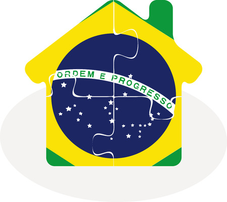 bullpen: Vector illustration of house home icon with Brazil flag in puzzle isolated on white background