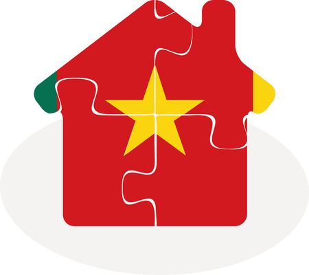 bullpen: Vector illustration of house home icon with Cameroon flag in puzzle isolated on white background