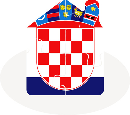 bullpen: Vector illustration of house home icon with Croatia flag in puzzle isolated on white background