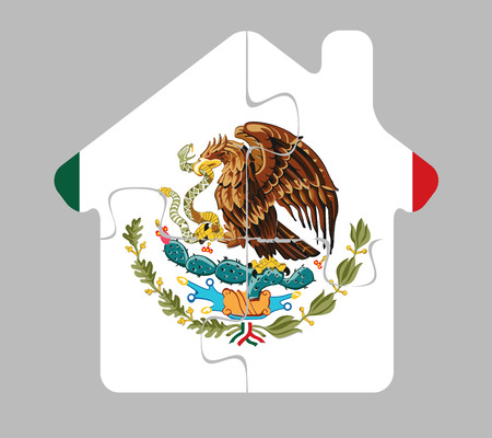 bullpen: Vector illustration of house home icon with Mexico flag in puzzle isolated on white background