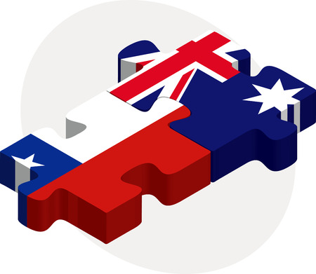 Vector illustration of Chile and Australia Flags in puzzle isolated on white background Vector
