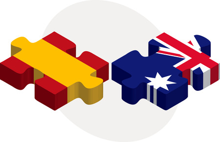 Vector illustration of Spain and Australia Flags in puzzle isolated on white background Vector