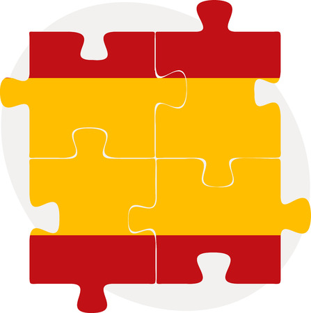 Vector illustration of Spain Flag in puzzle isolated on white background Vector