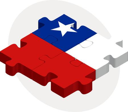 bandera de chile: Ilustraci�n vectorial de la bandera de Chile en el rompecabezas aislado en fondo blanco