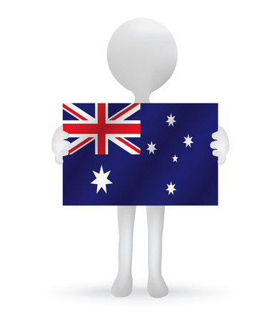small 3d man holding an Australia flag Vector