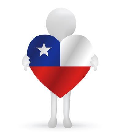 bandera de chile: peque�o hombre 3d que sostiene una bandera de Chile
