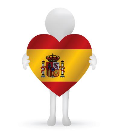 small 3d man holding a Spain flag Vector