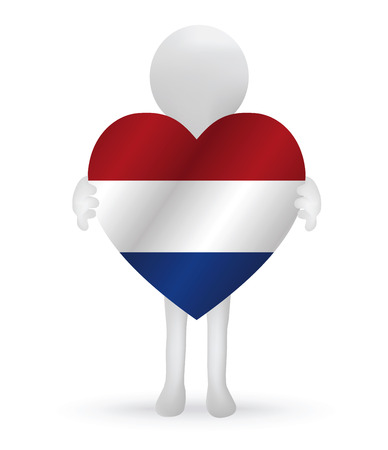 small 3d man holding a Netherlands flag Vector
