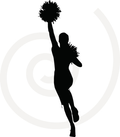 illustration of funky cheerleader silhouette Vector