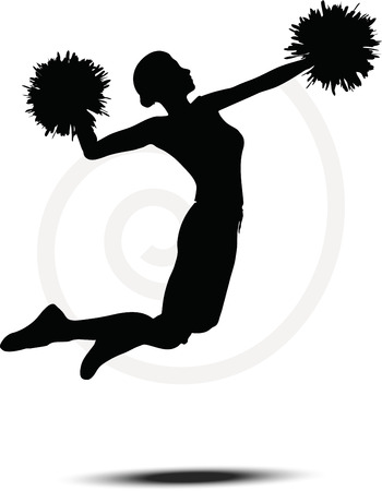 Vector illustration of funky cheerleader silhouette Vector