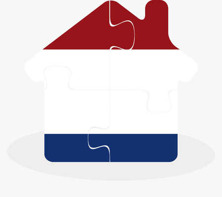 edifice: Vector illustration of house home icon with Netherlands flag in puzzle isolated on white background