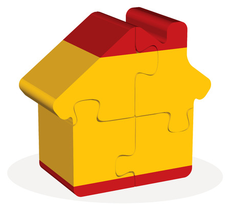 residency: Vector illustration of house home icon with Spain flag in puzzle isolated on white background