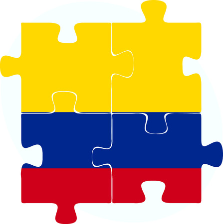 Vector illustration of Colombia Flag in puzzle isolated on white background Vector