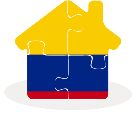 Vector illustration of house home icon with Colombia flag in puzzle isolated on white background Ilustração