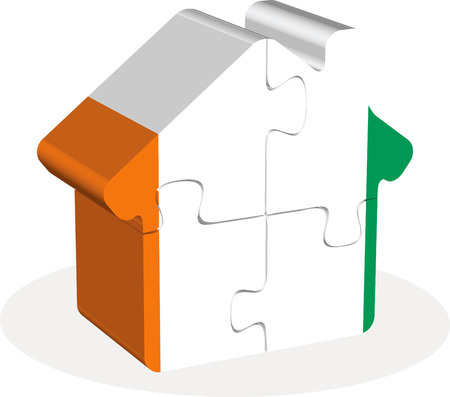 homely: Vector illustration of house home icon with Ivory Coast flag in puzzle isolated on white background Illustration