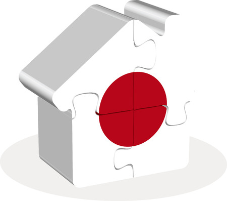 residency: Vector illustration of house home icon with Japan flag in puzzle isolated on white background