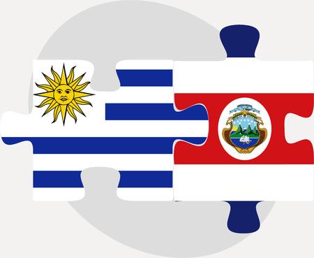 rican: Ilustraci�n vectorial de las banderas de Uruguay y Costa Rica en rompecabezas aislados sobre fondo blanco Vectores