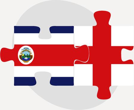 rican: Ilustraci�n vectorial de Inglaterra y Costa Rica Banderas en rompecabezas aislados sobre fondo blanco