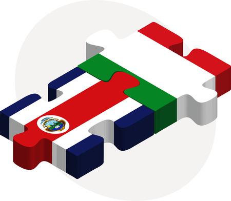 rican: Ilustraci�n del vector de Italia y Costa Rica Banderas en rompecabezas aislados sobre fondo blanco