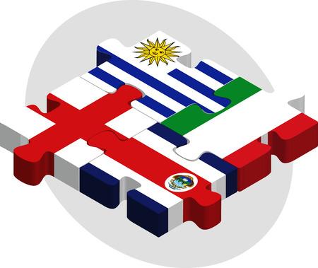 rican: Ilustraci�n vectorial de Uruguay, Costa Rica, Inglaterra e Italia Banderas de rompecabezas aislados sobre fondo blanco