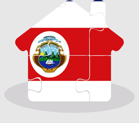 bullpen: Vector illustration of house home icon with Costa Rica flag in puzzle isolated on white background