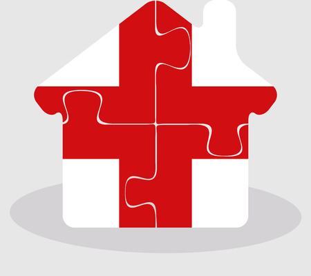bullpen: Vector illustration of house home icon with England flag in puzzle isolated on white background