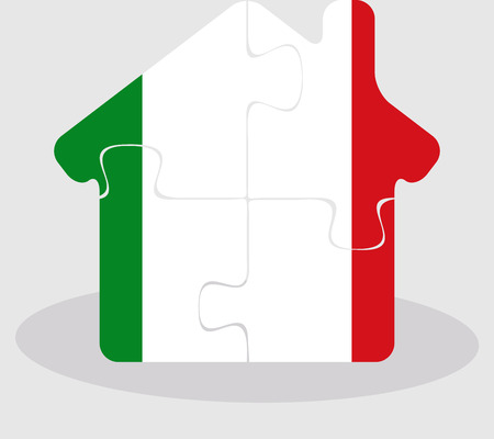 bullpen: Vector illustration of house home icon with Italy flag in puzzle isolated on white background Illustration